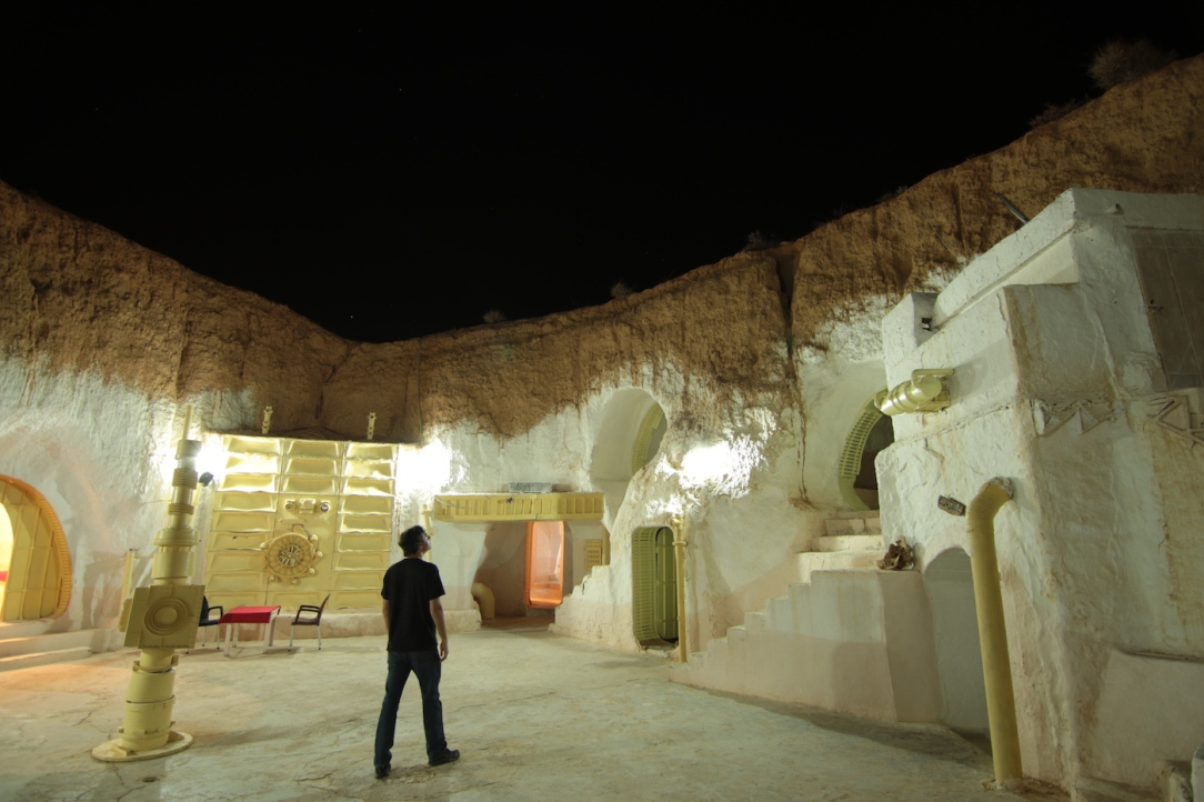Star Wars Locations: Night time at the Sidi Driss Hotel in Matmata, Tunisia which stood in for Luke Skywalker's house