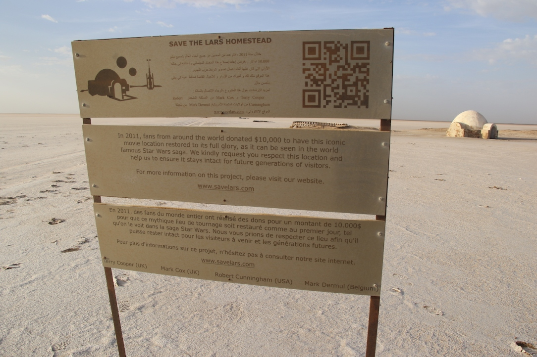 Star Wars Locations: A sign detailing the restoration of the Lars Homestead outside Tozeur, Tunisia
