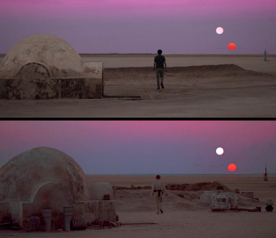 Star Wars Filming Locations: Recreating the binary sunset shot at the Lars Homestead in Tunisia