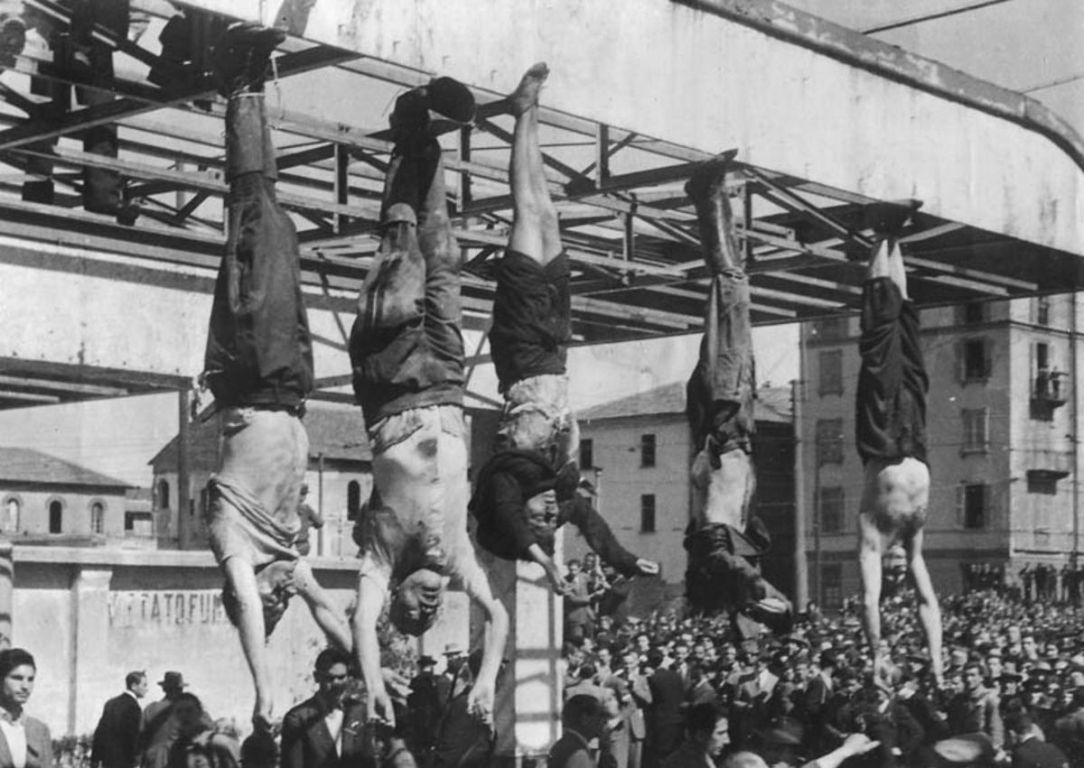 Bodies of fascists hanging in Piazzale Loreto in Milan, Italy
